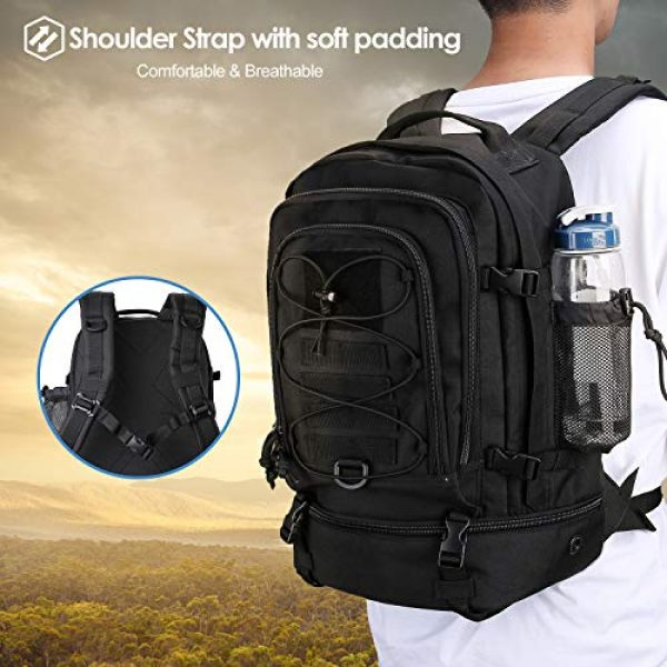 ProCase Tactical Backpack 6 Procase Military Tactical Backpacks 30 Liter, Large Capacity Hiking Daypacks Molle Bag for Camping, Hunting, Trekking, Military Traveling -Black