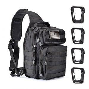 Weanas Tactical Backpack 1 Weanas Tactical Sling Bag Pack Military Rover Shoulder Sling Backpack Molle Assault Range Bag with 4 Tactical D-Ring Clips