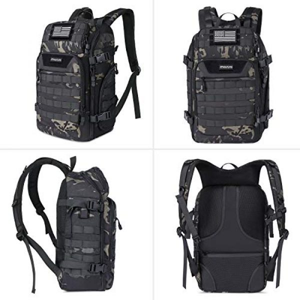 MOSISO Tactical Backpack 6 MOSISO 30L Tactical Backpack, Military Daypack 3 Day Assault Molle Rucksack Outdoor Hiking Hunting Fishing Camping Training Shoulder Bag with USA Flag Patch&USB Charging Port, Night Camouflage