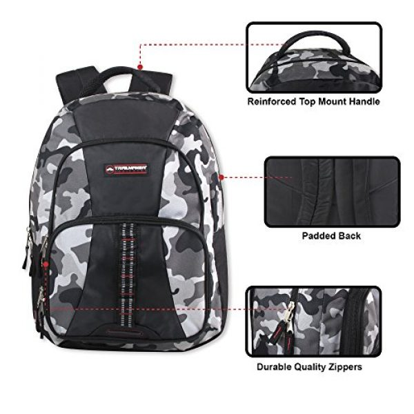 Trailmaker Tactical Backpack 2 Trailmaker Tactical Military Style Camo Backpack with Lash Tabs and Padded Back and Straps, Grey