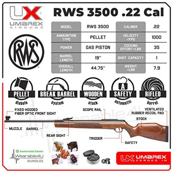 Wearable4U Air Rifle 2 Umarex RWS Model 3500 .22 Cal Break Barrel Air Rifle with Minelli Beechwood Stock with Wearable4U Bundle