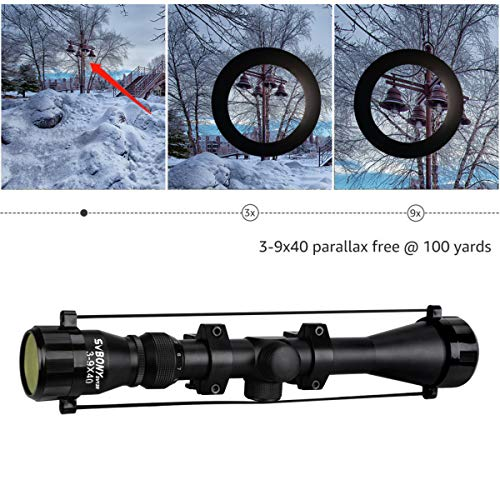 SVBONY Rifle Scope 4 SVBONY SV120 Rifle Scope 3-9x40mm Compact Hunting Scope Waterproof with Free Ring Mounts Fits 20mm Picatinny Rails (Matte Black)