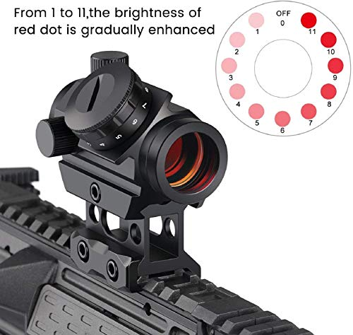 QILU Rifle Scope 3 QILU 3 MOA Red Green Dot Sight Brightness Button Control, 4 MOA Micro Red Dot Gun Sight Rifle Scope with 1 Inch Riser Mount
