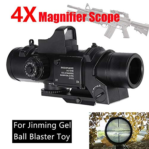 Fightsong Rifle Scope 7 Fightsong 4X Magnifier Scope Red Dot Sight Magnifier Universal for Gel Ball Blaster Toy Outdoor Camping Travel Magnifier