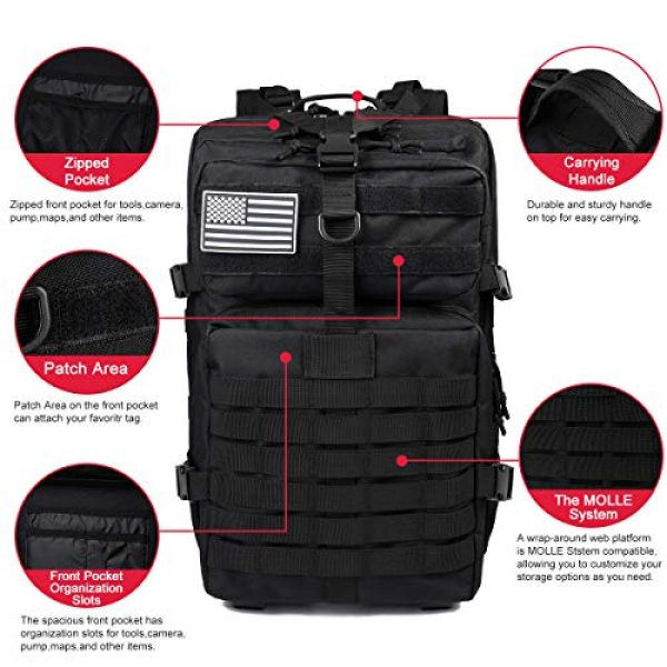 Heran Tactical Backpack 2 Tactical Backpack 45L Army 3 Day Assault Pack Molle For Bag Heavy Duty Black