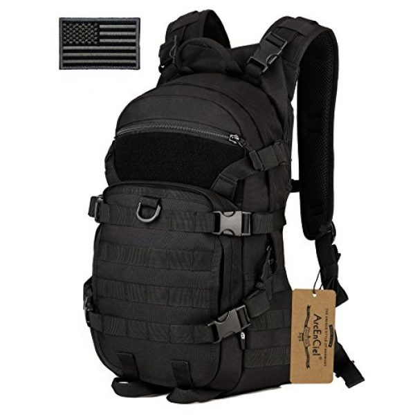 ArcEnCiel Tactical Backpack 1 ArcEnCiel 25L Tactical Motorcycle Cycling Backpack Military Molle Pack Helmet Holder with Patch - Rain Cover Included