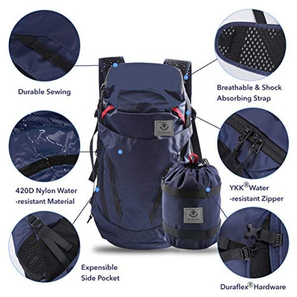 4Monster Tactical Backpack 2 4Monster 28L Ultralight Travel Backpack Foldable Hiking Camping School Sports Packs Laptop Daypack Outdoor Casual Waterproof Bag Navy Classic Sporty Style for Men Women