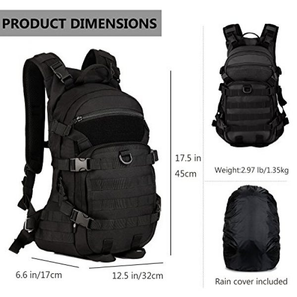 ArcEnCiel Tactical Backpack 3 ArcEnCiel 25L Tactical Motorcycle Cycling Backpack Military Molle Pack Helmet Holder with Patch - Rain Cover Included
