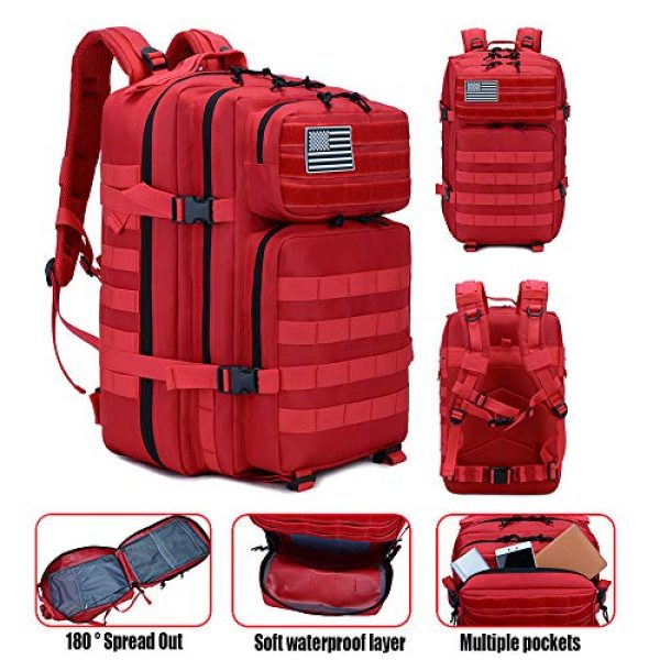 LHI Tactical Backpack 4 LHI Military Tactical Backpack for Men and Women 45L Army 3 Days Assault Pack Bag Large Rucksack with Molle System - Red