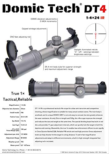 DOMIC TECH Rifle Scope 2 DOMIC TECH DT4 /1-4x24 IR Rifle Scope, a True 1x, Tactical, Optical, Reliable and Professional Sniper Rifle-Scope.