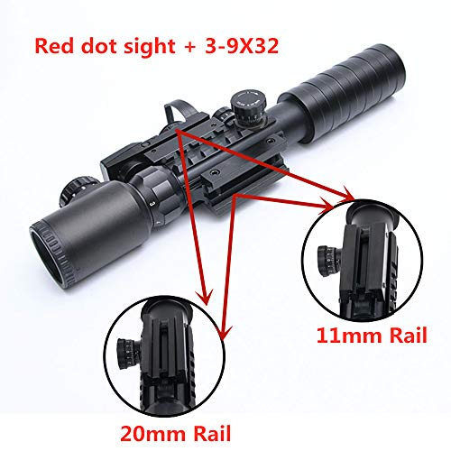Luger Rifle Scope 4 Luger Tactical 3-9X32EG Optical Dual Red Green Illuminated Crosshair Range Finder Rifle Scope with Red Green Reflex 4 Reticles Sight