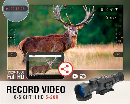 ATN Rifle Scope 4 ATN X-Sight II HD 5-20 Smart Day/Night Rifle Scope w/1080p Video, Ballistic Calculator, Rangefinder, WiFi, E-Compass, GPS, Barometer, IOS & Android Apps