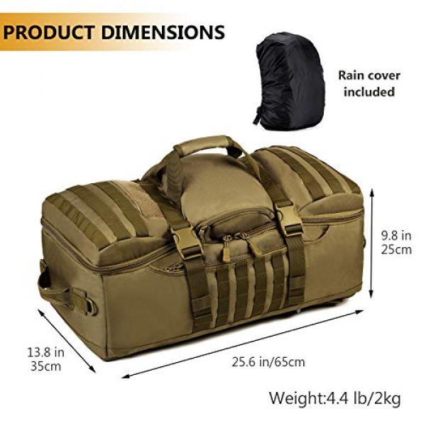 Protector Plus Tactical Backpack 4 Protector Plus Tactical Travel Backpack 60L Military MOLLE Duffel Bag Luggage Suitcase Hiking Camping Outdoor Rucksack (Rain Cover & Patch Included)