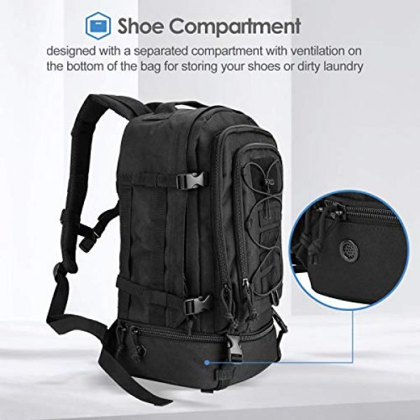 ProCase Tactical Backpack 4 Procase Military Tactical Backpacks 30 Liter, Large Capacity Hiking Daypacks Molle Bag for Camping, Hunting, Trekking, Military Traveling -Black