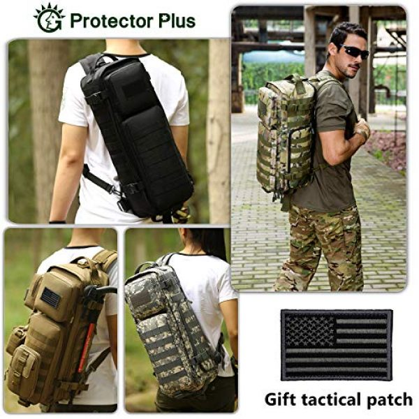 Protector Plus Tactical Backpack 3 Protector Plus Tactical Sling Bag Military MOLLE Crossbody Pack Assault Range Chest Shoulder Backpack EDC Diaper Satchel Motorcycle Bicycle Outdoor Daypack (Patch Included)