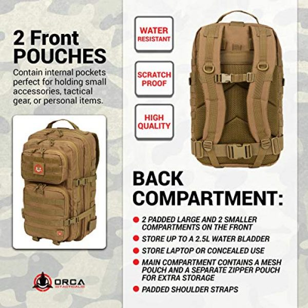 Orca Tactical Tactical Backpack 5 Orca Tactical Backpack 40L Large Military 1 to 3 Day Molle Assault Pack Rucksack Army Bag