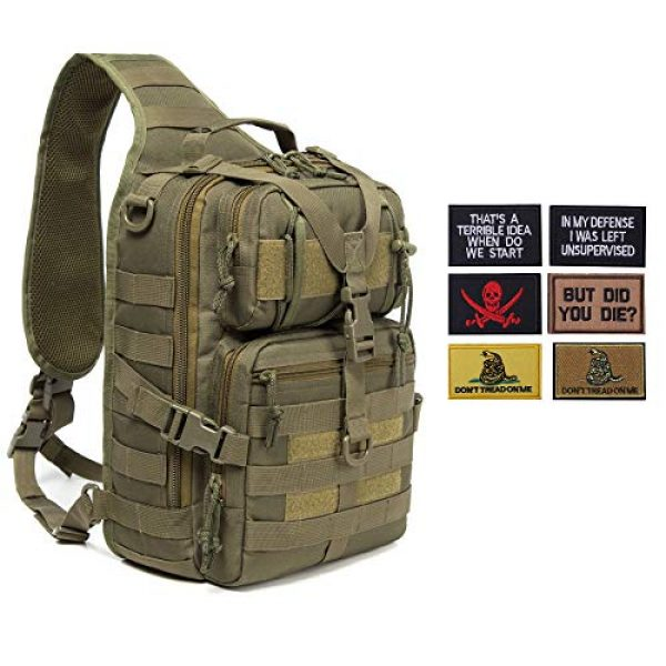 Harsgs Tactical Backpack 1 Harsgs Tactical EDC Sling Bag Pack, Military Rover Shoulder Molle Backpack, with USA Flag Patch