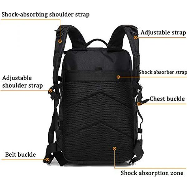 Createy Tactical Backpack 4 Createy Military Tactical Backpack, Large Army 3 Day Assault Pack 45L Molle Bag Rucksack Bug Out Bag Daypacks with Molle System for Camping Hunting Hiking Traveling