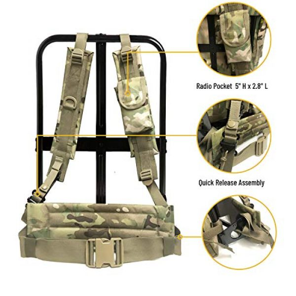 MT Tactical Backpack 5 Military Rucksack Alice Pack Army Backpack and Butt Pack