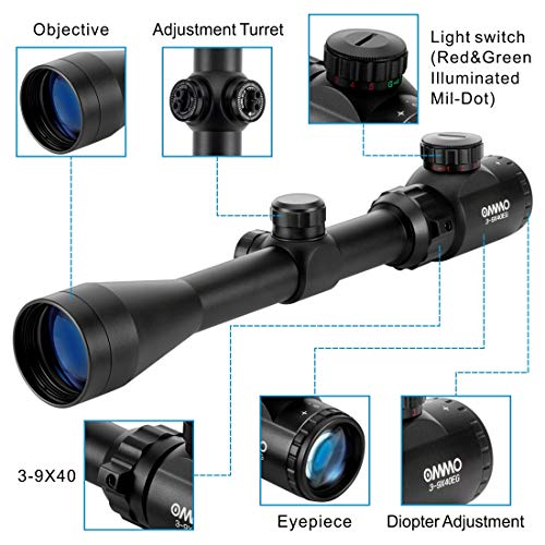 OMMO Rifle Scope 5 OMMO 3-9X40 Rifle Scope, Red Green Illuminated Optical Mil-Dot Riflescope for Hunting, with Flip-Open Covers