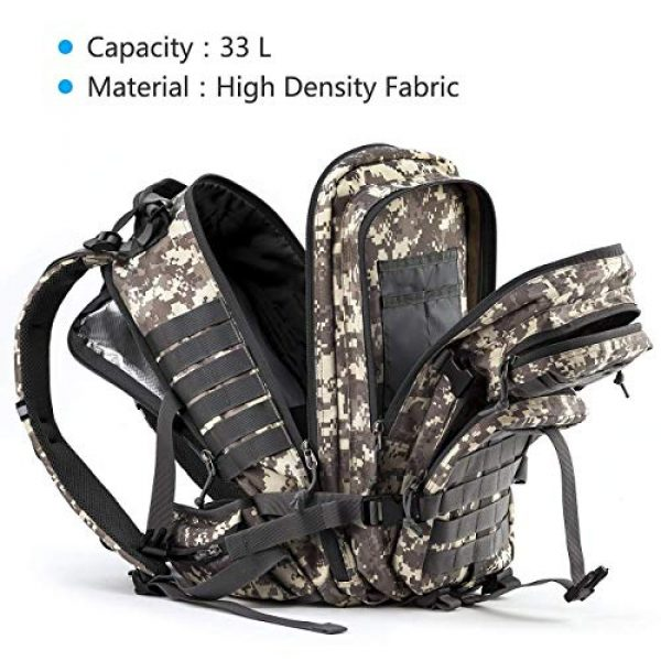 RUPUMPACK Tactical Backpack 2 Military Tactical Backpack Hydration Backpack by RUPUMPACK, Army MOLLE Bag, Small 3-Day Rucksack for Outdoor Hiking Camping Trekking Hunting School Daypack 33L with 3L Water Bladder