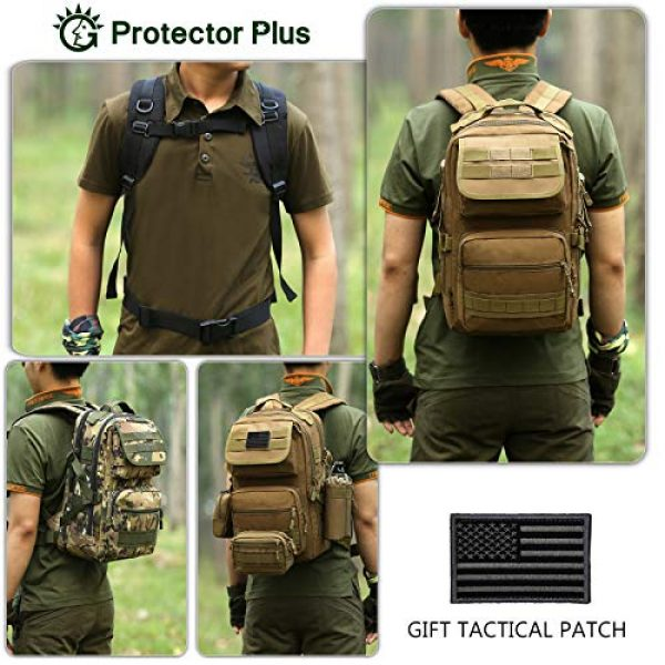 Protector Plus Tactical Backpack 4 Protector Plus Tactical Motorcycle Backpack Small Military MOLLE Cycling Daypack Army Assault Pack Bug Out Bag Hiking Camping Rucksack (Rain Cover & Patch Included)