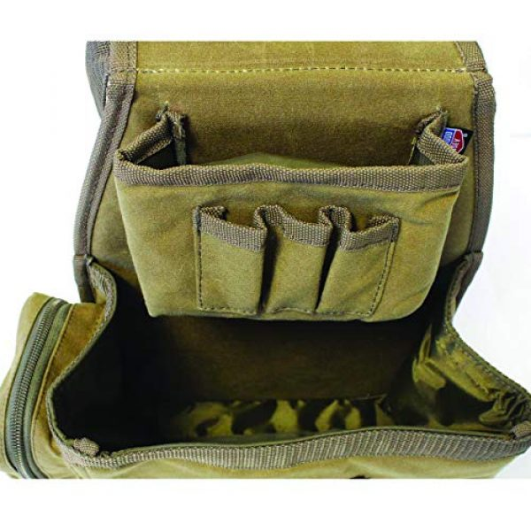 Birchwood Casey Tactical Pouch 2 Birchwood Casey Shell Bag with Belt - Brown Waxed Canvas, Model:BC-06812