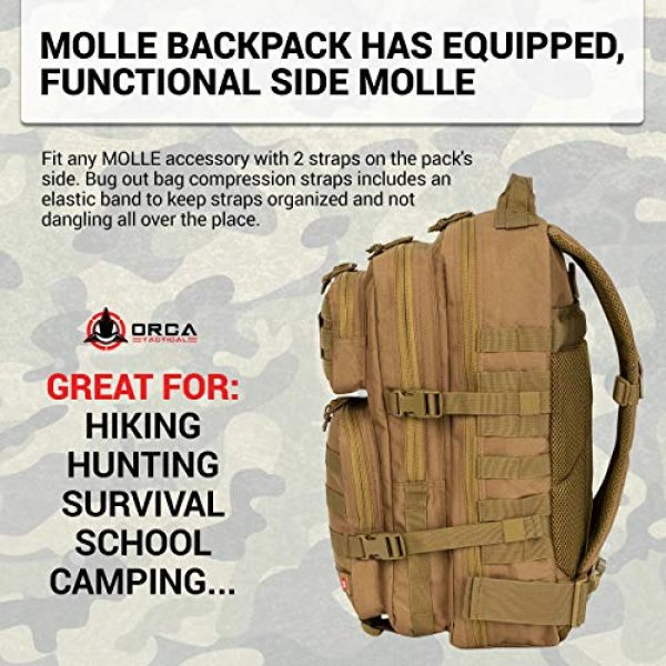 Orca Tactical Tactical Backpack 6 Orca Tactical Backpack 40L Large Military 1 to 3 Day Molle Assault Pack Rucksack Army Bag