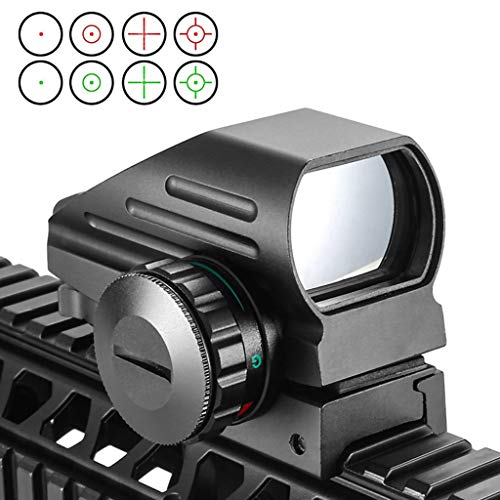 AJDGL Rifle Scope 1 AJDGL 1x22x33mm Tactical Red Dot Sight- Optical Holographic Scope with 4 Reticles Patterns Adjustable Brightness for Shooting Hunting