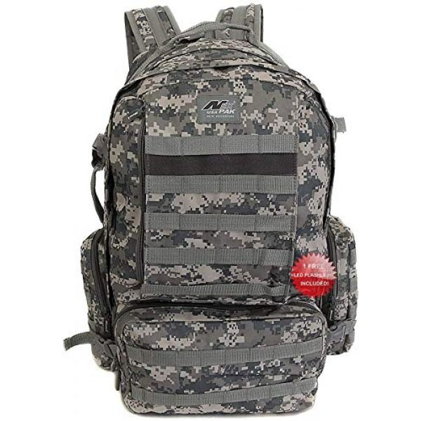 NPUSA Tactical Backpack 1 NPUSA Mens 22 Inch Large Military Tactical Gear Molle Hydration Ready Hiking Backpack Bag + Flashlight