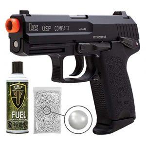 Wearable4U Airsoft Pistol 1 Wearable4U H&K Heckler & Koch USP GBB(KWA) Blowback Airsoft Pistol Green Gas BB Air Soft Gun Bundle (Black)