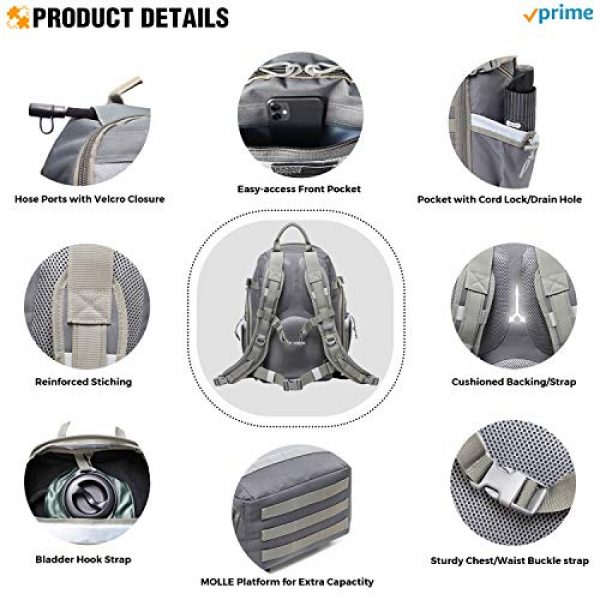 DBTAC Tactical Backpack 4 DBTAC Tactical Backpack Molle Hiking Daypack 25L with Laptop/Hydration Pockets