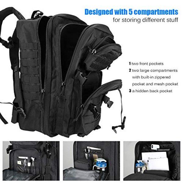 ProCase Tactical Backpack 4 ProCase Military Tactical Backpack, 48L Large Rucksack 3 Day Outdoor Army Assault Molle Pack Go Bag Backpacks -Black