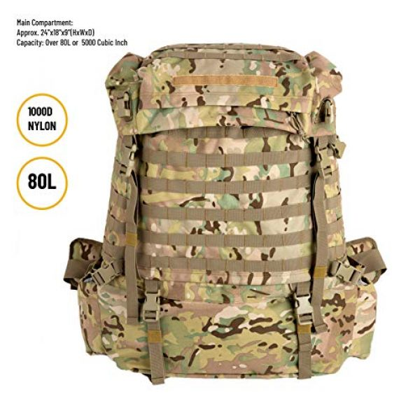 MT Tactical Backpack 2 MT Assembly Military Rucksack Tactical Assault Backpack Hydration Pack System with Frame and Hip Belt Multicam