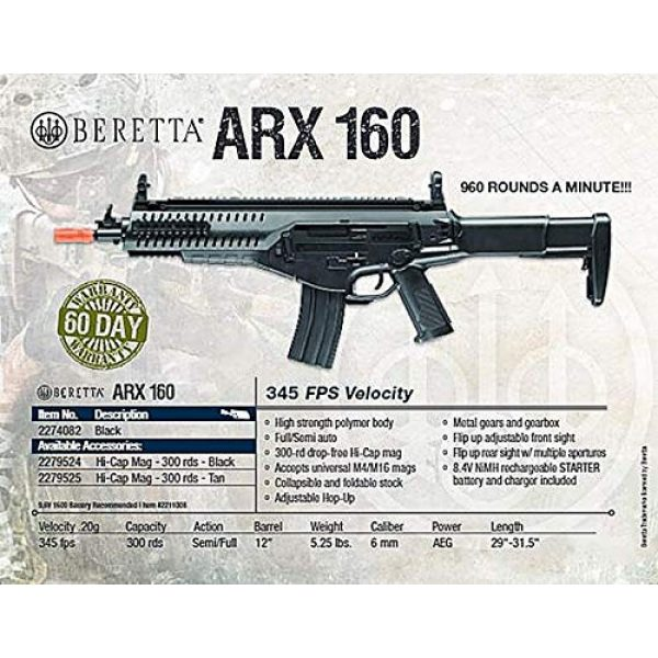 Wearable4U Airsoft Rifle 3 Wearable4U Umarex EF Beretta Arx 160 AEG Competition Electric Air Soft BB Rifle with Included Battery and Charger Pack of 1000ct BBS Bundle (Black)
