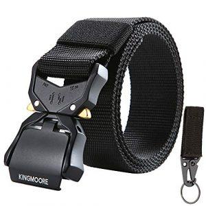 KingMoore Tactical Belt 1 KingMoore Tactical Belt, Nylon EDC Belt Heavy Duty Work Belt Quick-Release with Metal Buckle