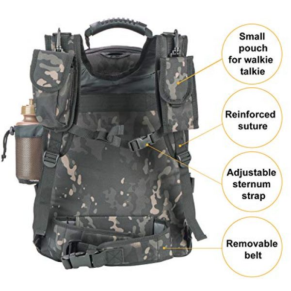 XWL SPORTS Tactical Backpack 5 XWL SPORTS Military Tactical Assault Backpack Tactical Sling Bag Pack for Outdoor Hiking Camping Hunting School Etc (Black Multicam)