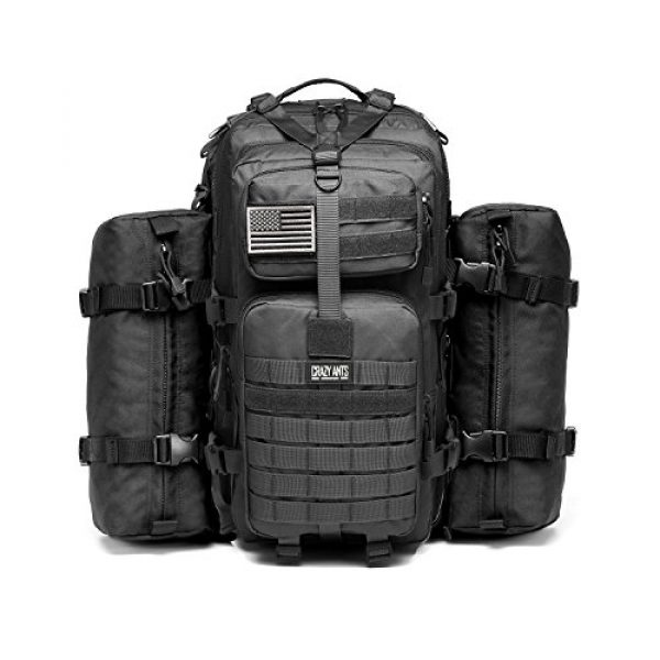 CRAZY ANTS Tactical Backpack 1 CRAZY ANTS Military Tactical Backpack Waterproof Outdoor Gear for Camping Hiking,Black + 2 Detachable Packs