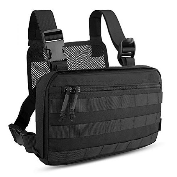 KRYDEX Tactical Backpack 1 KRYDEX Chest Bag Tactical Combat MOLLE Pouch Radio Chest Harness Front Chest Pouch Black