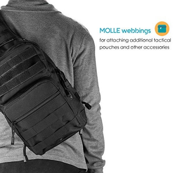 ProCase Tactical Backpack 7 ProCase Tactical Sling Bag Pack with Pistol Holster, Military Rover Sling Shoulder Backpack Outdoor Sport Daypack for Hunting, Trekking and Camping -Black