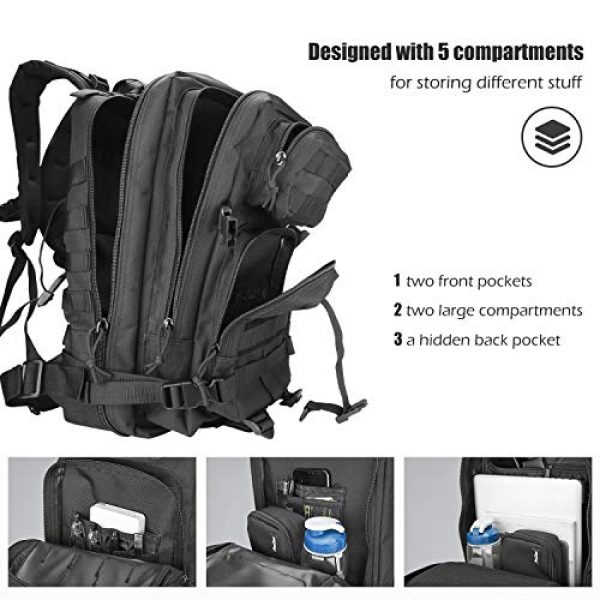 ProCase Tactical Backpack 3 ProCase Military Tactical Backpack, 35L Large Capacity Rucksacks 2 Day Army Assault Pack Go Bag for Hunting, Trekking, Camping and Other Outdoor Activities -Black