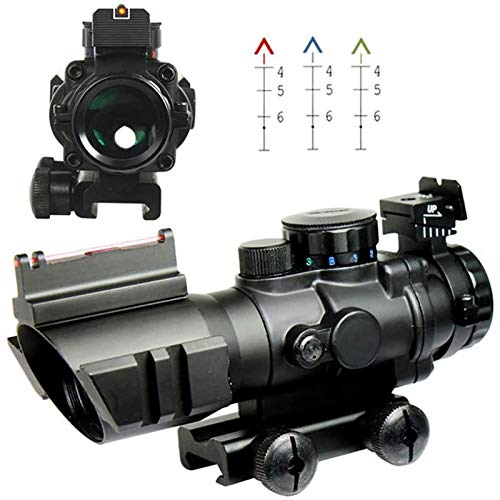 TTHU Rifle Scope 2 Rifle Scope Tactical Rimfire Scope 4X32 Red/Green/Blue Triple Illuminated Rapid Range Reticle Rifle Scope W/Top Fiber Optic Sight and Weaver Slots