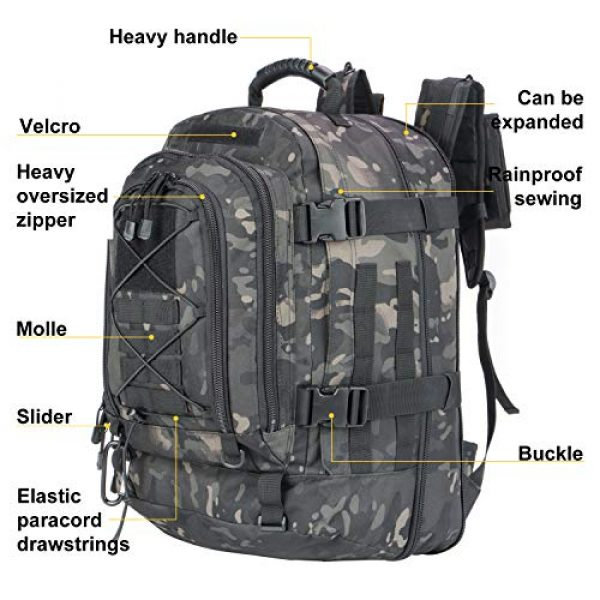 XWL SPORTS Tactical Backpack 4 XWL SPORTS Military Tactical Assault Backpack Tactical Sling Bag Pack for Outdoor Hiking Camping Hunting School Etc (Black Multicam)