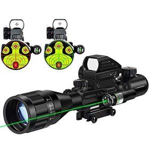 MidTen Rifle Scope 1 MidTen 4-16x50 Tactical Rifle Scope Dual Illuminated Optics & Rangefinder Illuminated Reflex Sight 4 Holographic Reticle Red/Green Dot Sight & IIIA/2MW Laser Sight (Green)