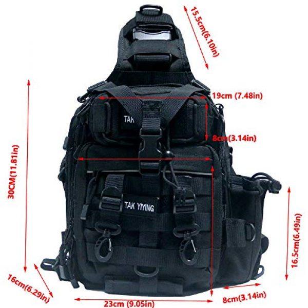 TAK YIYING Tactical Backpack 2 Tactical Sling Backpack Waterproof Shoulder Bag With Waterproof Rainproof Backpack Pack Cover (Black)