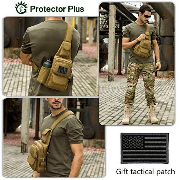 Protector Plus Tactical Backpack 3 Protector Plus Tactical Sling Bag Military MOLLE Crossbody Pack Chest Shoulder Backpack with Water Bottle Holder Pouch EDC Diaper Motorcycle Daypack (Patch Included)