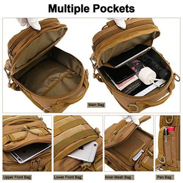CamGo Tactical Backpack 5 Tactical Sling Backpack Fly Fishing Tackle Bag Unisex MOLLE Casual Daypack for Fishing Hunting Hiking Trvel