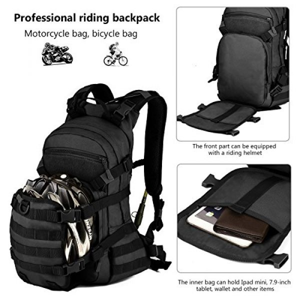 ArcEnCiel Tactical Backpack 4 ArcEnCiel 25L Tactical Motorcycle Cycling Backpack Military Molle Pack Helmet Holder with Patch - Rain Cover Included