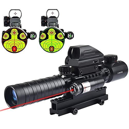 MidTen Rifle Scope 1 MidTen 3-9x32 Tactical Rifle Scope Dual Illuminated Optics & Rangefinder Illuminated Reflex Sight 4 Holographic Reticle Red/Green Dot Sight & IIIA/2MW Laser Sight(Red)
