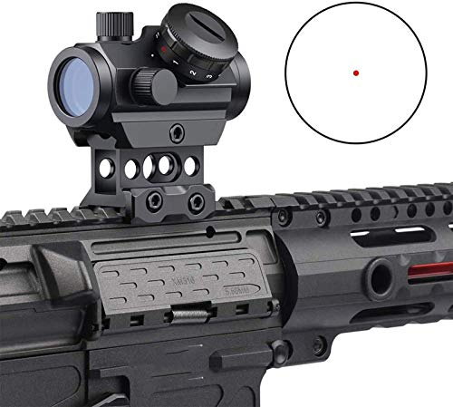 TTHU Rifle Scope 4 TTHU Rifle Scopes Red Dot Sight 1X25 Sights Reflex with 20Mm Rail Mount & Increase Riser Rail for Hunting Scopes